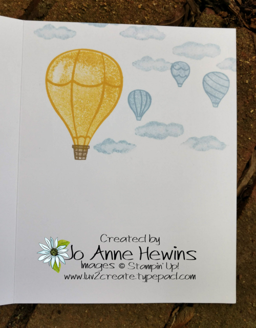 Above the Clouds 3 Hot Air Balloons Inside of Card by Jo Anne Hewins