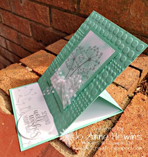 Dandelion Wishes Easel Card Side View by Jo Anne Hewins