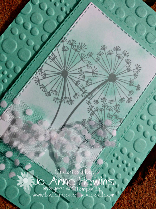 Dandelion Wishes Easel Card Close Up by Jo Anne Hewins