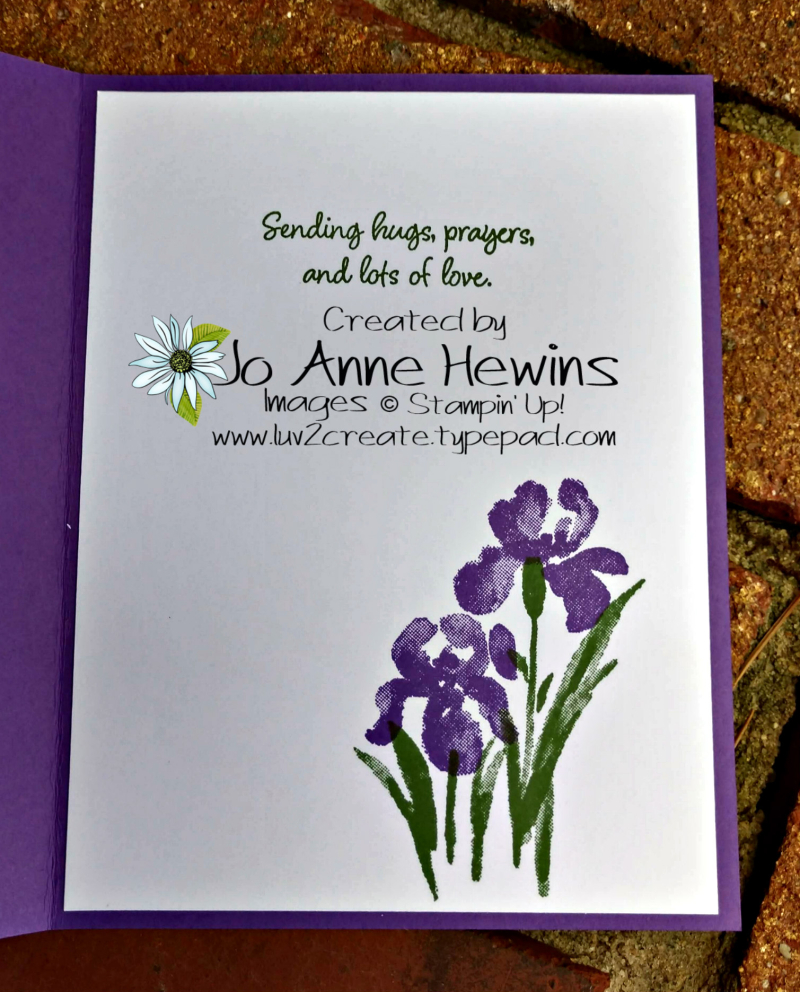 Inspiring Iris in Gorgeous Grape Inside of Card by Jo Anne Hewins