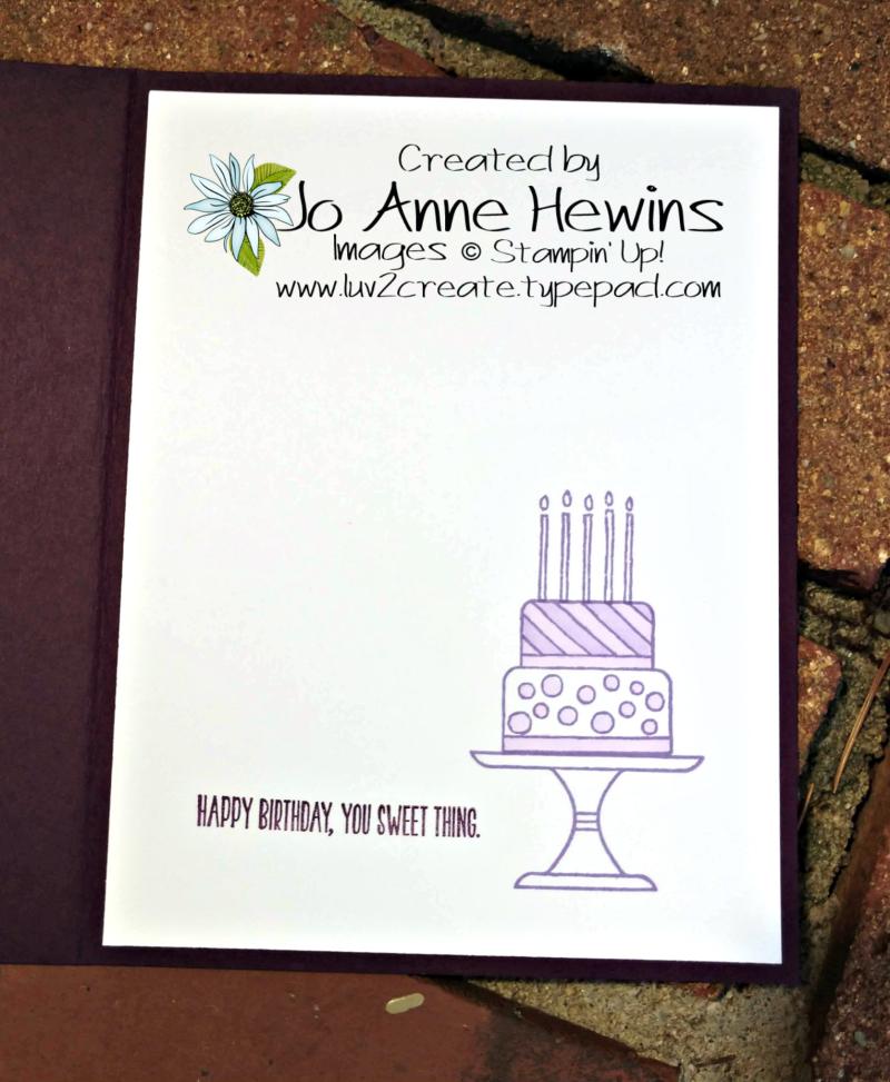 Piece of Cake Inside of Card by Jo Anne Hewins