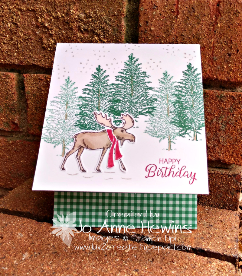 Merry Moose Birthday Card by Jo Anne Hewins