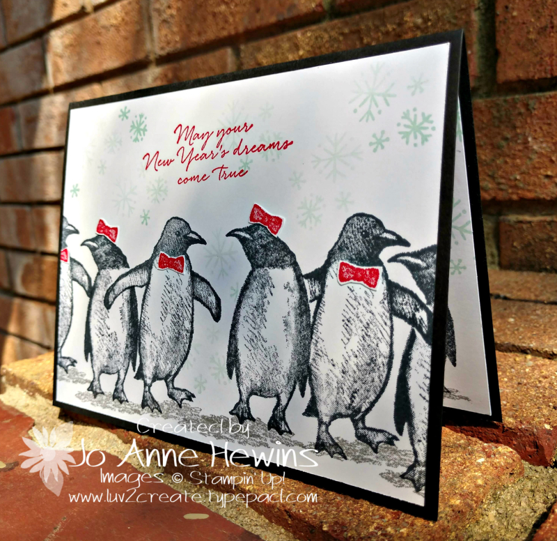 Playful Penguins New Year's Day card by Jo Anne Hewins