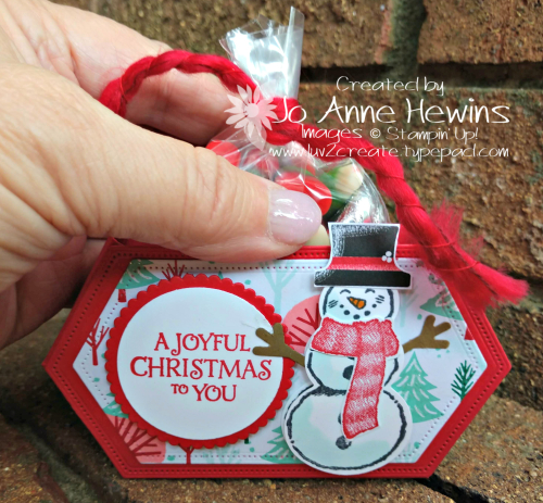 Snowman Season Stitched Nested Labels Container with Candy by Jo Anne Hewins