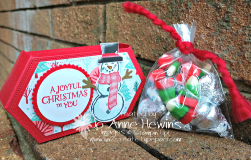 Snowman Season Stitched Nested Labels Side View Box with Candy by Jo Anne Hewins