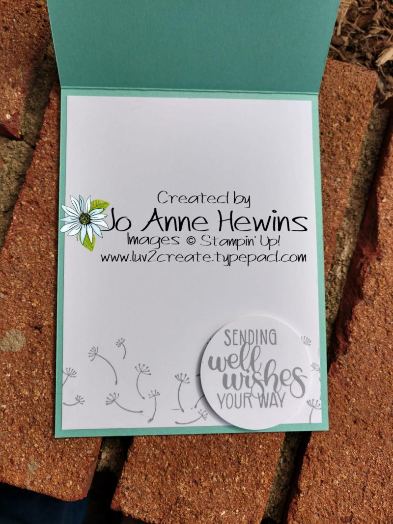 Dandelion wishes Easel Card inside by Jo Anne Hewins