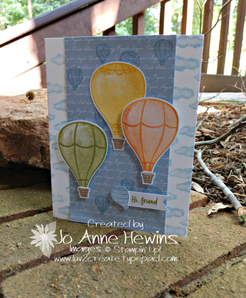 Above the Clouds 3 Hot Air Balloons Card by Jo Anne Hewins