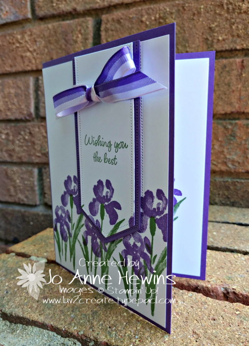 Inspiring Iris in Gorgeous Grape with Tricolor Ribbon by Jo Anne Hewins