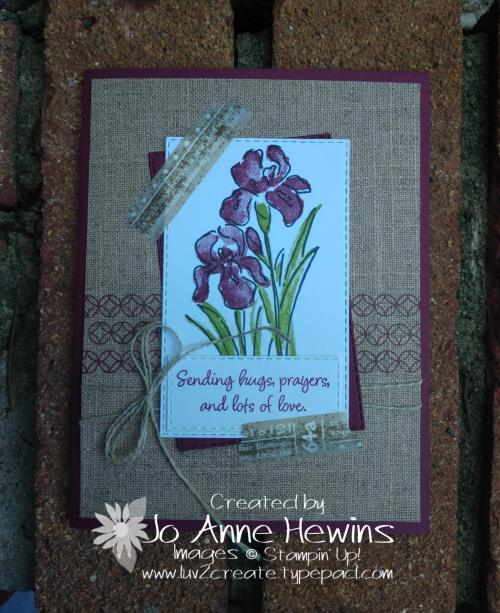 Inspiring Iris July Class Card by Jo Anne Hewins