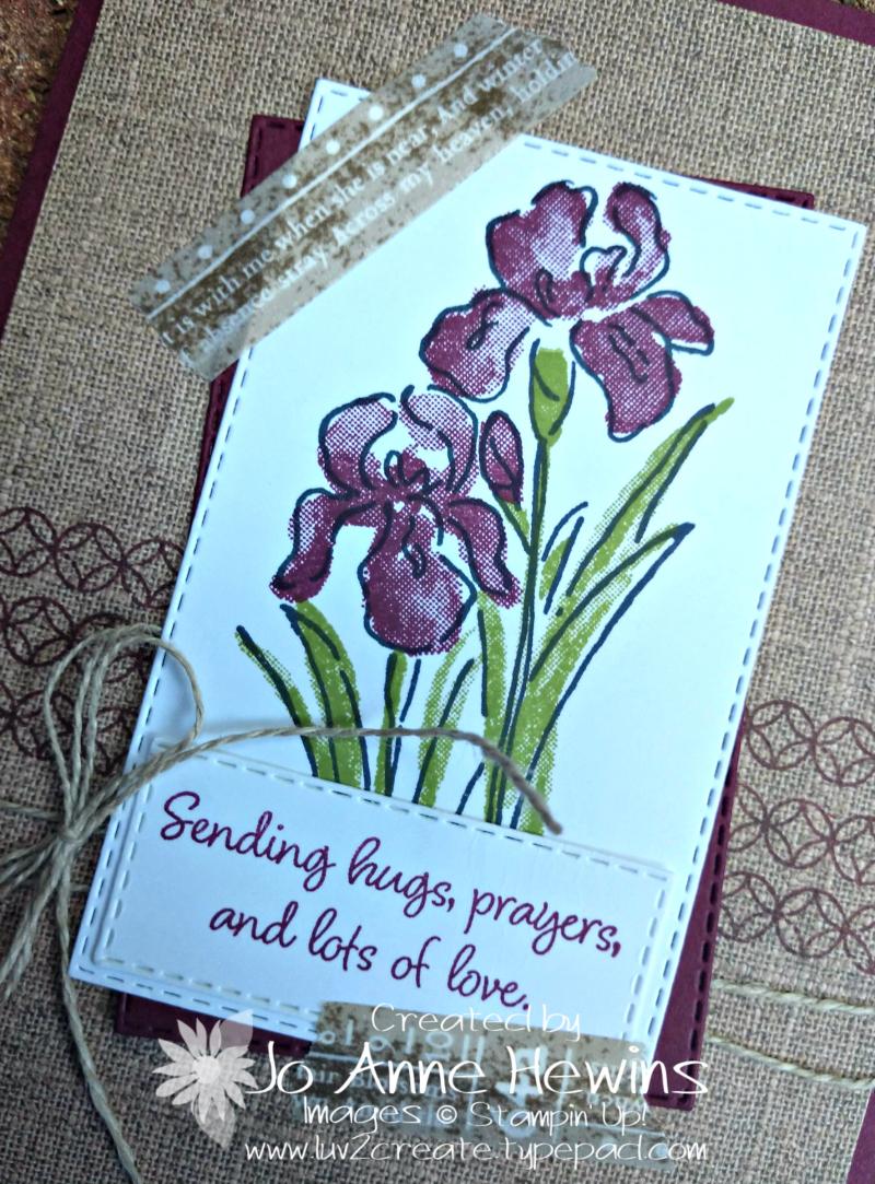 Inspiring Iris July Class Card Close Up by Jo Anne Hewins