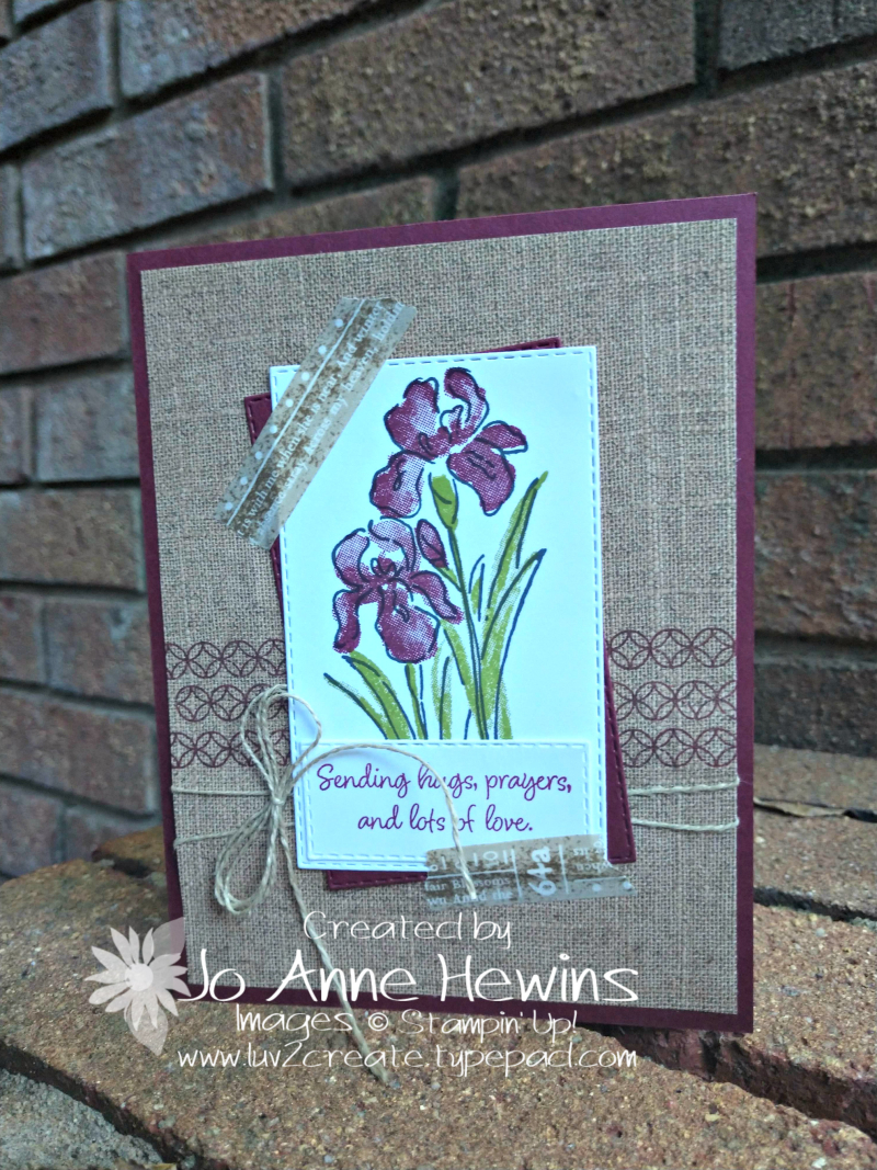Inspiring Iris July Crafty Class Card by Jo Anne Hewins