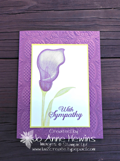 Lasting Lily Sympathy by Jo Anne Hewins