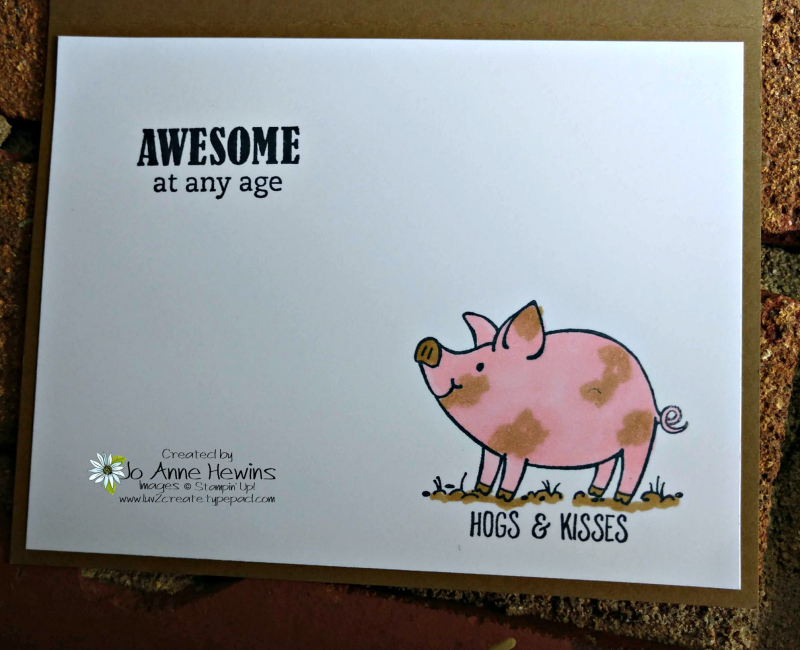 Hand Lettered Birthday Card and This Little Piggy Inside of Card by Jo Anne Hewins