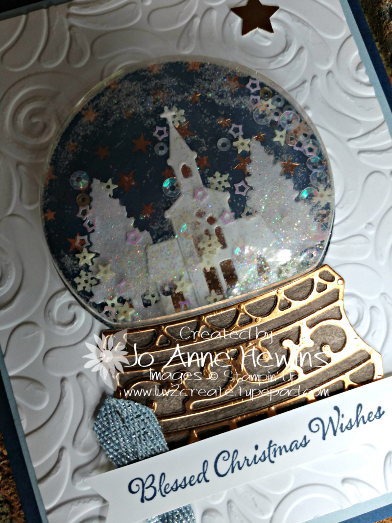 Snow Globe Scenes Card Close Up by Jo Anne Hewins