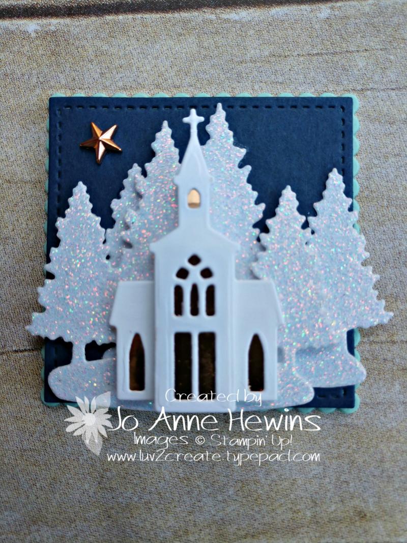 Christmas Sampler Snow Globe Scenes dies church by Jo Anne Hewins
