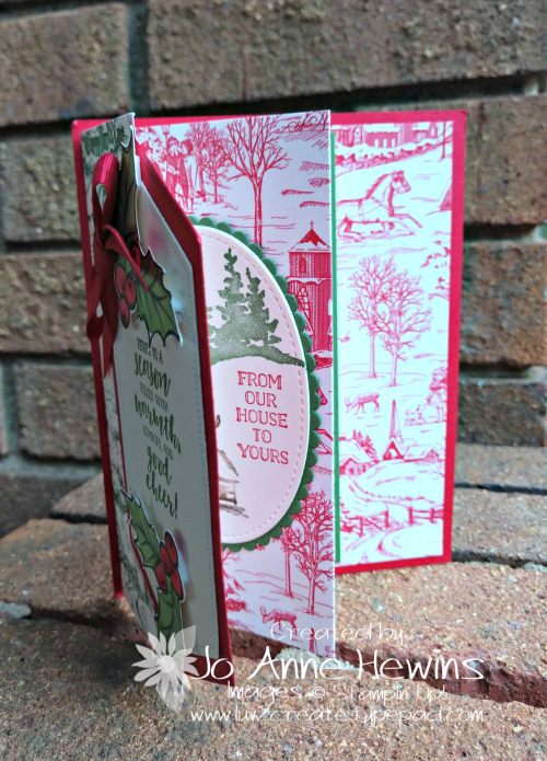 Toile Tidings DSP Christmas Layer Card by Jo Anne Hewins
