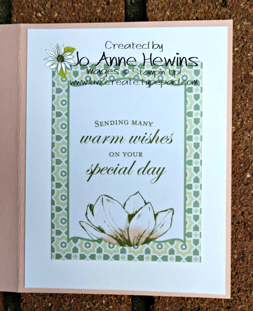 CCMC #564 Magnolia Lane Memories & More Card Pack Inside of Card by Jo Anne Hewins