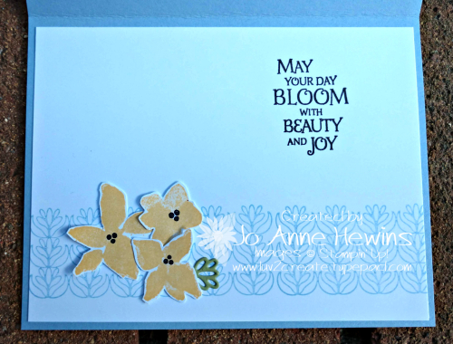 CCMC #584 Parcels & Petals Inside of Card by Jo Anne Hewins
