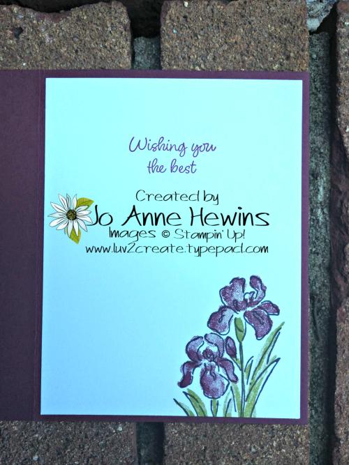 Inspiring Iris July Class Inside of Card by Jo Anne Hewins