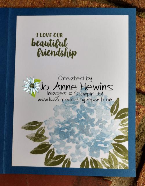 Beautiful Friendship Inside of Card by Jo Anne Hewins
