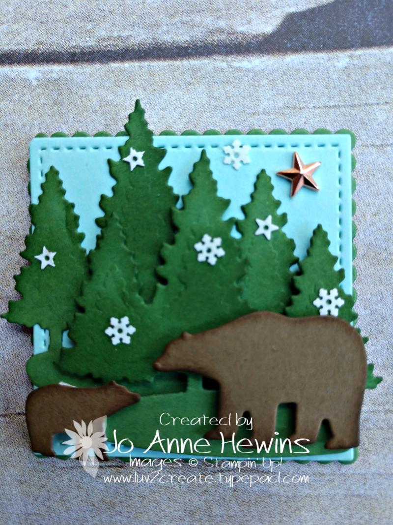 Christmas Sampler Snow Globe Scenes dies bear by Jo Anne Hewins