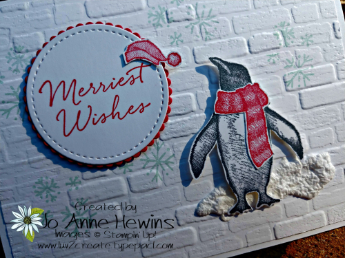Playful Penguins Gift Card Holder Close Up by Jo Anne Hewins
