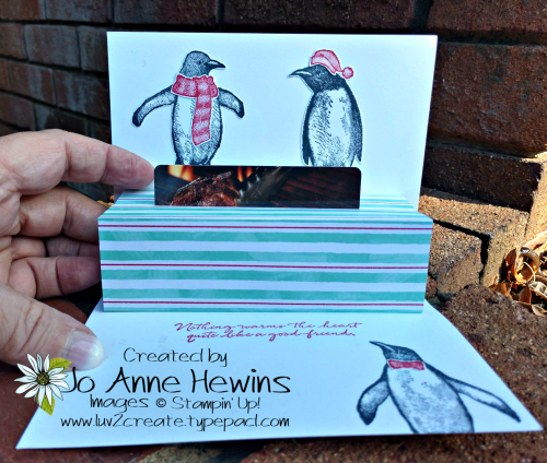 Playful Penguins Gift Card Holder Inside of Card by Jo Anne Hewins