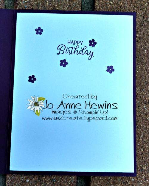Beauty & Joy in Blackberry Bliss Inside of Card by Jo Anne Hewins
