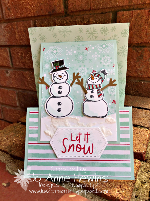 Snowman Season Easel Card Front by Jo Anne Hewins