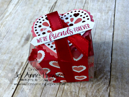Bingo February 1  2020 Clear Treat Box with From My Heart Specialty Paper by Jo Anne Hewins