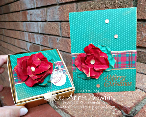 OSAT for November Gleaming Ornaments Punch Pack Wrapped in Plaid Box and Card by Jo Anne Hewins