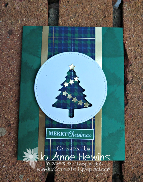 Wrapped in Plaid Pine Tree Card by Jo Anne Hewins