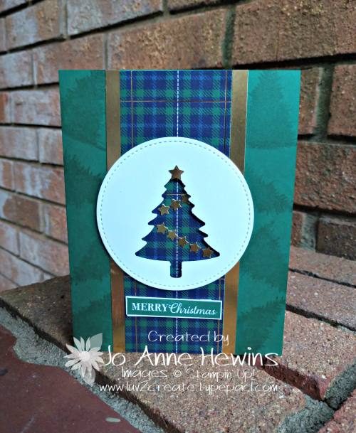 Wrapped in Plaid Pine Tree Christmas Card by Jo Anne Hewins