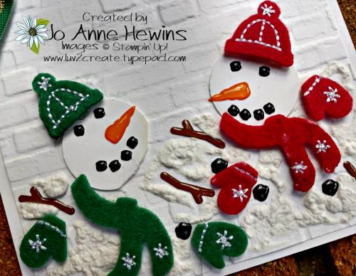 Snowman Season Melting Close Up by Jo Anne Hewins