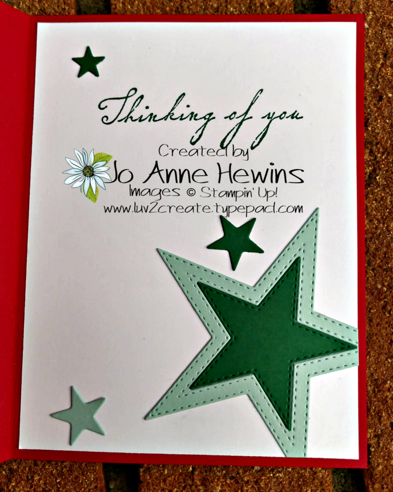 CCMC #589 Stitched Stars Inside of Card by Jo Anne Hewins