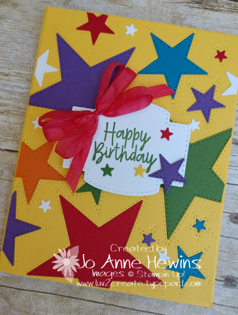 Stitched Stars Birthday Card Close Up by Jo Anne Hewins