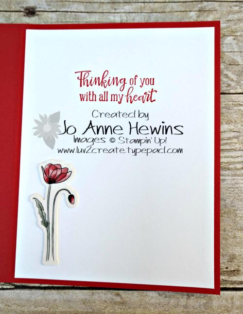 CCMC #603 Poppy Inside of Card by Jo Anne Hewins
