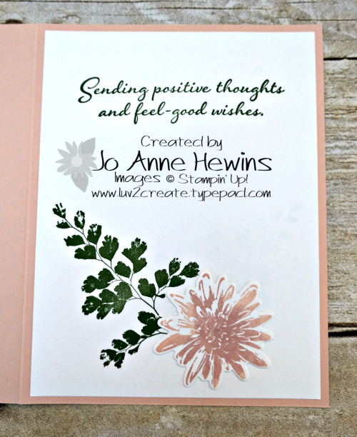 Positive Thoughts Inside of Card by Jo Anne Hewins