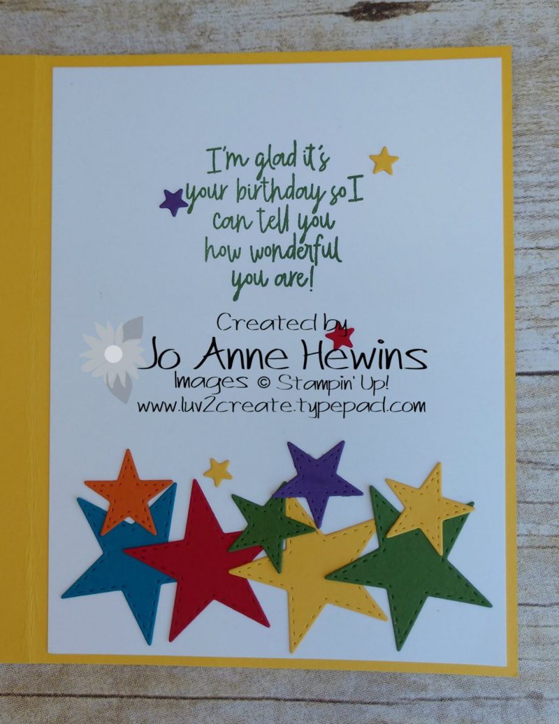 Stitched Stars Birthday Card Inside by Jo Anne Hewins