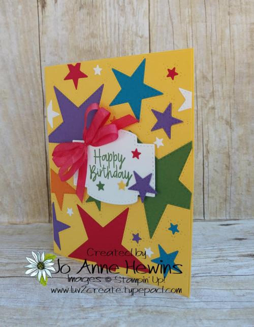Stitched Stars Birthday Bonanza Card by Jo Anne Hewins