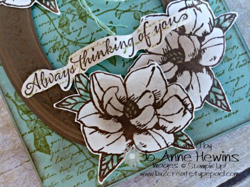 Color Fusers for March Magnolia Close Up of Bottom of Card by Jo Anne Hewins