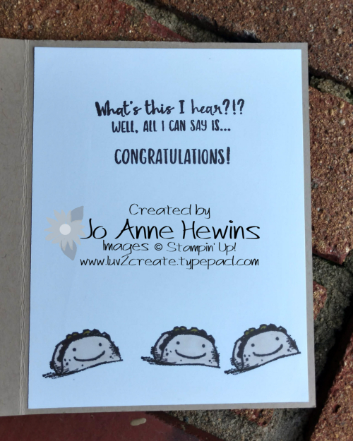 Witty-cisms Taco Inside of Card by Jo Anne Hewins