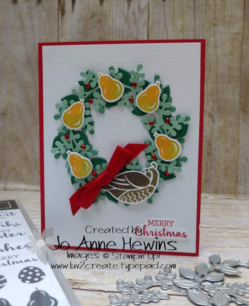 Arrange a Wreath Partridge in a Pear Tree Card by Jo Anne Hewins