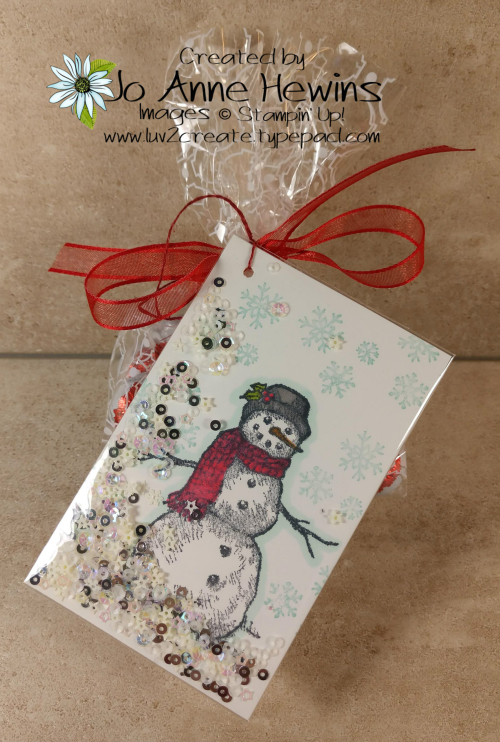 Snow Wonder Shaker Tag with Bag by Jo Anne Hewins