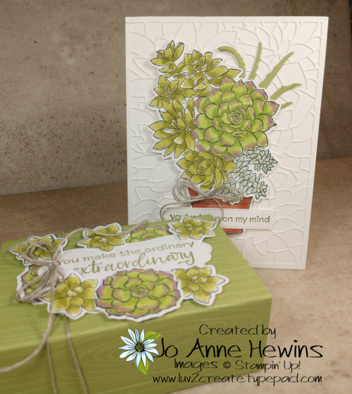 OSAT Jan Simply Succulent Card Project and Treat Box by Jo Anne Hewins