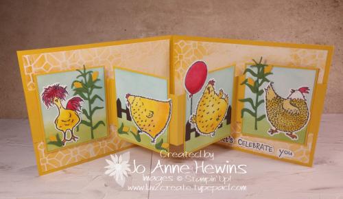 W Card Fold Hey Chick Inside View by Jo Anne Hewins