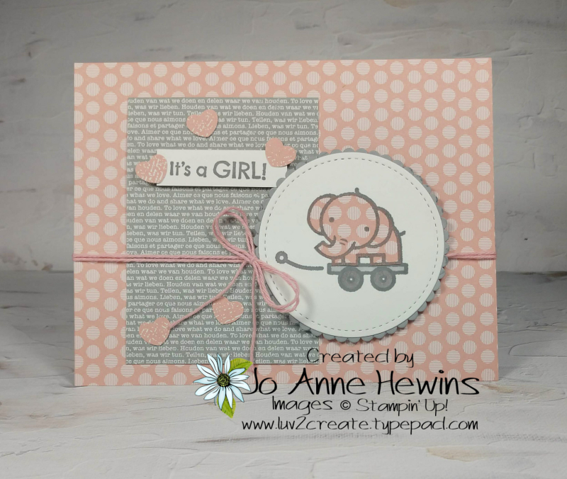 Baby Pull Toys elephant piecing Card by Jo Anne Hewins