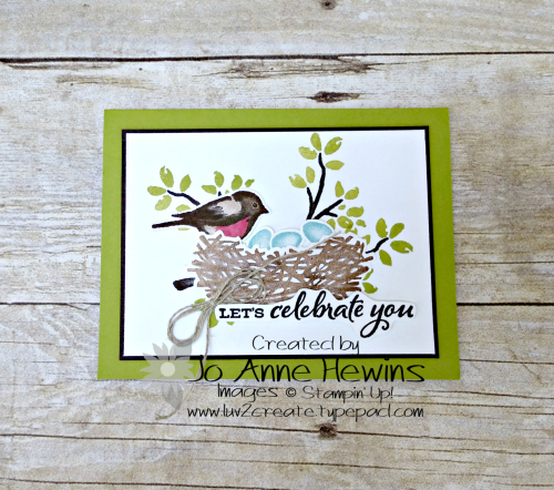 Birds and Branches Green by Jo Anne Hewins