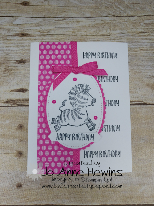 Zany Zebras Hinge Stamping Card by Jo Anne Hewins