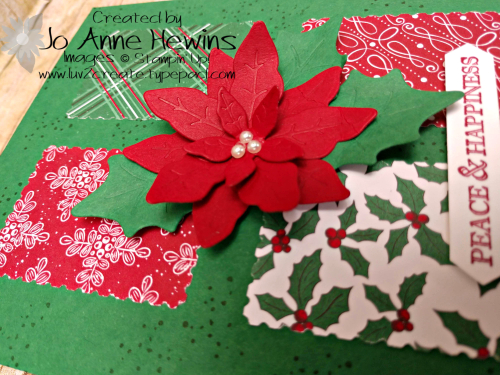 Poinsettia Petals and 'Tis the Season Close Up of Card by Jo Anne Hewins